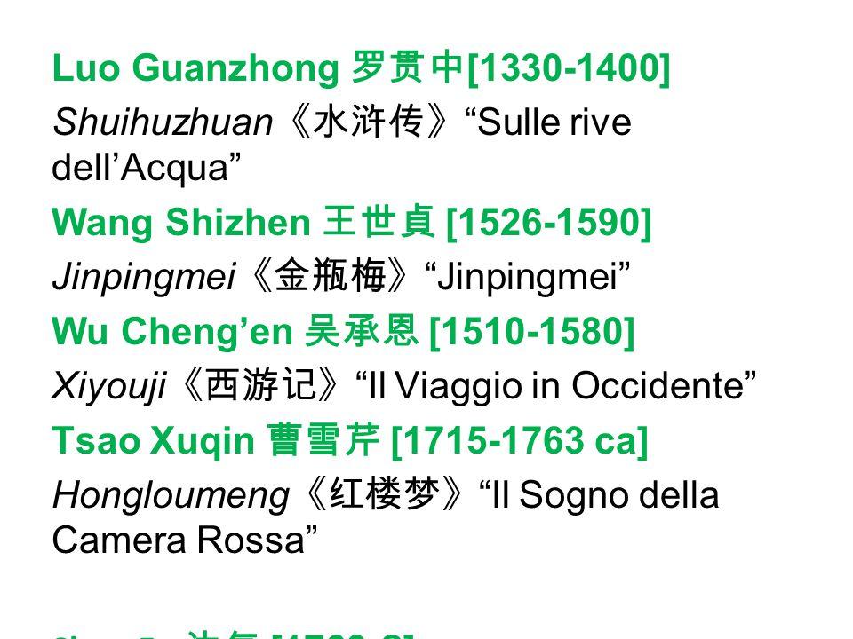 Luo Guanzhong 罗贯中[1330-1400] Shuihuzhuan《水浒传》 Sulle rive dell'Acqua Wang Shizhen 王世貞 [1526-1590] Jinpingmei《金瓶梅》 Jinpingmei Wu Cheng'en 吴承恩 [1510-1580] Xiyouji《西游记》 Il Viaggio in Occidente Tsao Xuqin 曹雪芹 [1715-1763 ca] Hongloumeng《红楼梦》 Il Sogno della Camera Rossa Shen Fu 沈复 [1763- ] Fusheng liuji《浮生六记》 Sei racconti di vita fluttuante